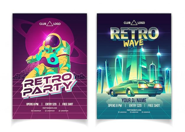 Fiesta de música de onda retro en cartel de anuncio de dibujos animados de discoteca