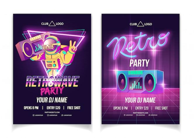 Fiesta de música retrowave en cartel publicitario, folleto o plantilla de póster de dibujos animados de discoteca en colores neón