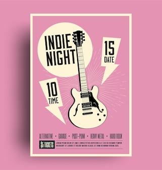 Fiesta de música rock de noche indie o plantilla de diseño de volante de concierto con silueta de guitarra negra