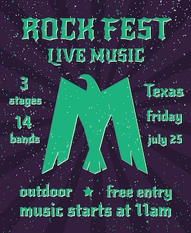 Fiesta de música en vivo de rock fest invertida alas águila silueta símbolo de poder cartel cartel invitación abstracta ilustración vectorial