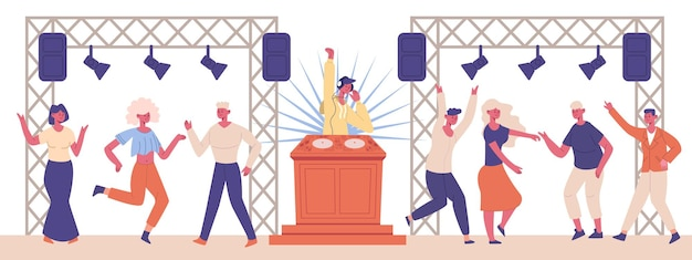 Fiesta musical de dj. personajes de baile de club nocturno y personajes de dj.