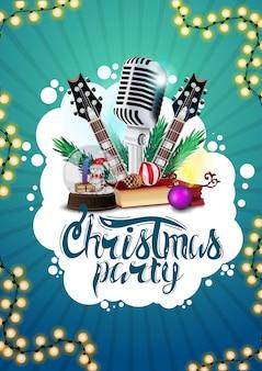 Fiesta de navidad, cartel azul con guitarras, micrófono.