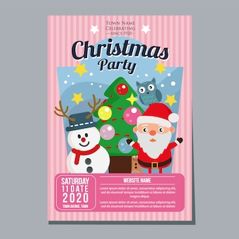 Fiesta de navidad festival plantilla de póster de vacaciones muñeco de nieve estilo plano de árbol de santa