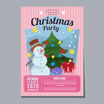 Fiesta de navidad festival vacaciones cartel plantilla muñeco de nieve estilo plano
