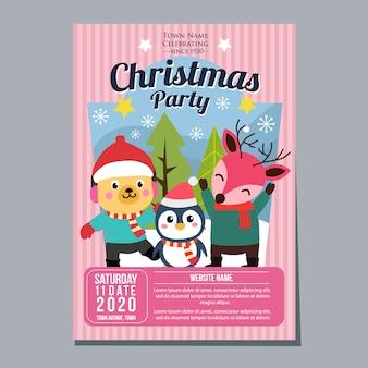 Fiesta de navidad festival vacaciones cartel plantilla perro pingüino ciervo