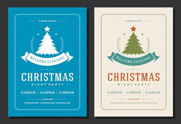 Fiesta de navidad flyer invitación retro elementos de decoración y tipografía. cartel de vacaciones de navidad.