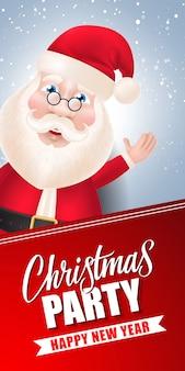Fiesta de navidad letras y santa claus