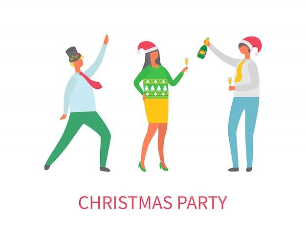 Fiesta de navidad de personas amigos bailando juntos
