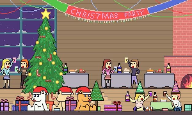 Fiesta de navidad de pixel art