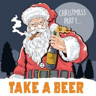 Fiesta de navidad toma una cerveza
