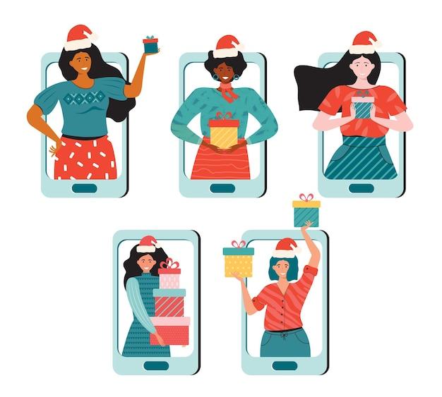 Fiesta navideña en línea o venta y compras de temporada.