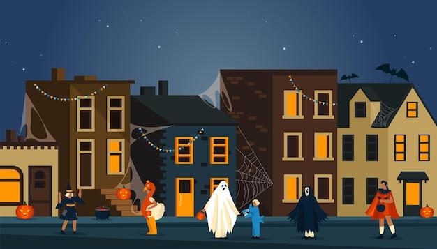 Fiesta de noche de halloween en un fondo de calle
