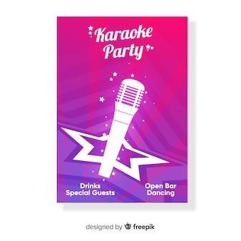 Fiesta noche de karaoke, plantilla para poster, cartel o flyer
