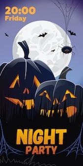 Fiesta nocturna. letras de los viernes. calabazas en pasto, araña, murciélagos.