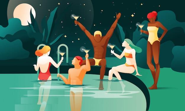 Fiesta nocturna en la piscina dibujos animados personas beben cócteles