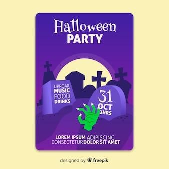 Fiesta de octubre de halloween en un cementerio poster