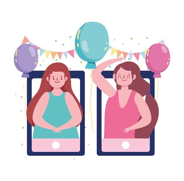 Fiesta online, chicas conectadas con teléfonos y decoración de banderines de globos