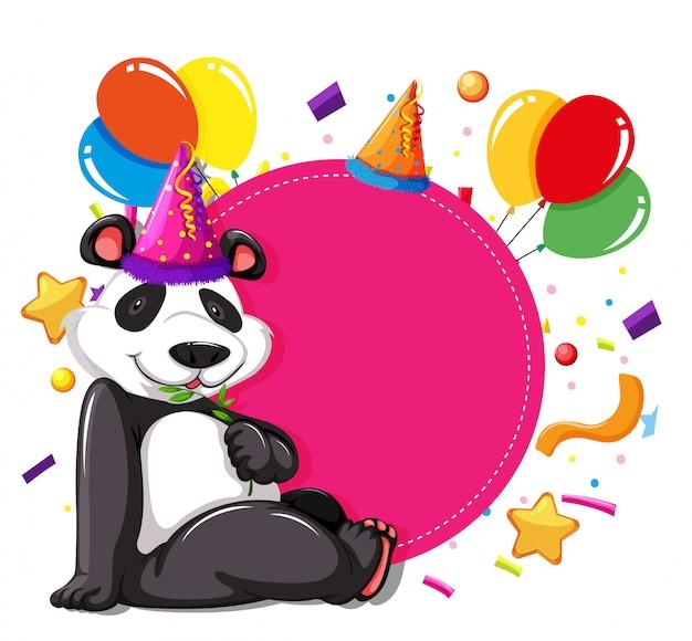 Fiesta panda en tarjeta rosa