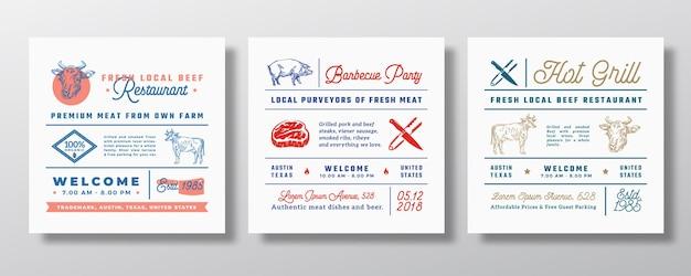 Fiesta de parrilla de barbacoa de cerdo o signos de restaurante de carne, títulos o conjunto de elementos de decoración de menú.