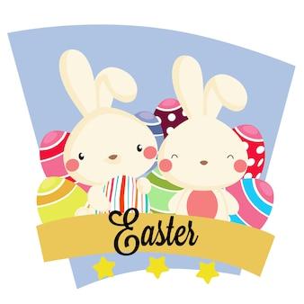 Fiesta de pascua con caja de cinta de conejo presente.