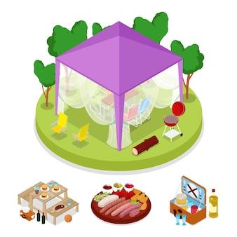 Fiesta de picnic barbacoa isométrica en la ilustración de la tienda