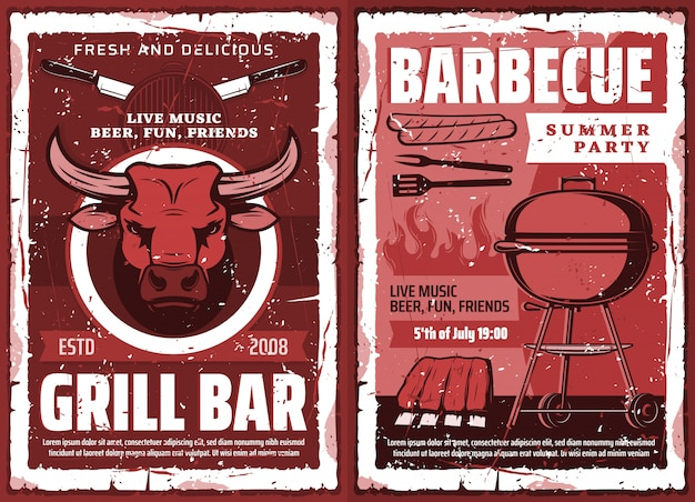 Fiesta de picnic barbacoa y parrilla de barbacoa, póster retro