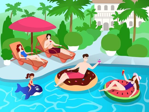 Fiesta en la piscina para familiares y amigos en el resort de villa de lujo, ilustración de vacaciones de verano