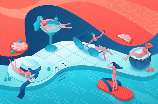 Fiesta en la piscina isométrica 3d