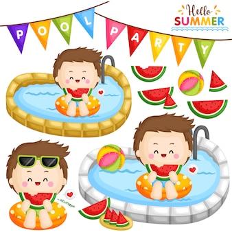 Fiesta en la piscina de sandía