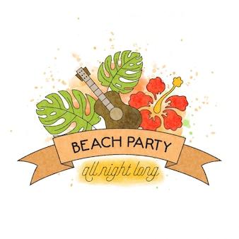 Fiesta en la playa. banner de verano acuarela