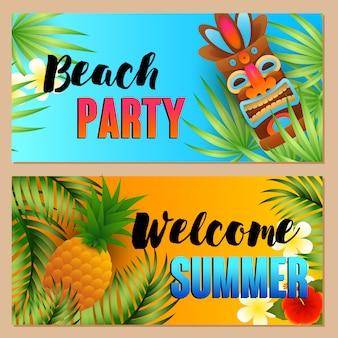Fiesta en la playa, conjunto de letras de bienvenida al verano, piña, máscara tiki