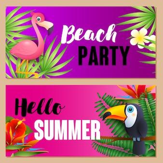 Fiesta en la playa, hola letras de verano con aves exóticas.