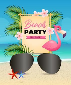 Fiesta en la playa con letras, flamenco, flores y gafas de sol.