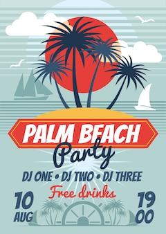 Fiesta de playa retro cartel de verano o flyer. banner fiesta de playa baile