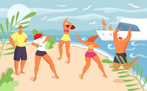 Fiesta en la playa de verano en divertidas vacaciones, ilustración. grupo de chicos de chica joven baila cerca del mar, gente feliz hombre mujer en bikini. hermosa celebración, felicidad tropical.