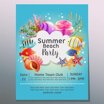 Fiesta en la playa de verano bajo la ilustración de vector de plantilla de cartel de vacaciones mar