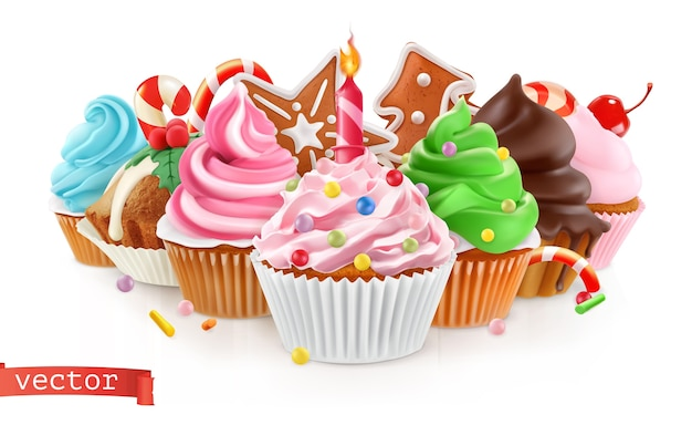 Fiesta. postre dulce. pastel, cupcake ilustración