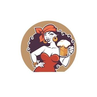 Fiesta en el pub, retrato de una bella dama de dibujos animados con una cerveza de barril