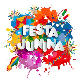 Fiesta del pueblo de festa junina en américa latina. iconos establecidos en color brillante. decoración de estilo plano.