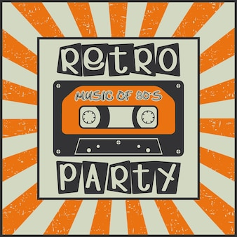 Fiesta retro. música de los 80. cartel publicitario vintage con un casete sobre un fondo sunburst. ilustración vectorial.