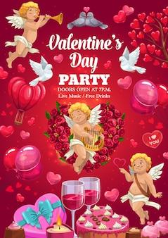 Fiesta de san valentín, cartel con globos de corazones