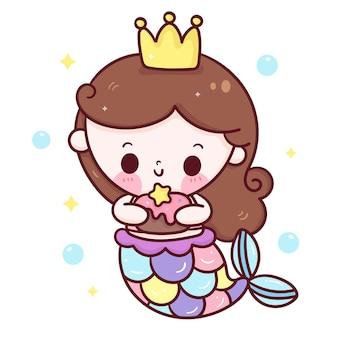 Fiesta de sirena de dibujos animados con pastel de cumpleaños animal kawaii
