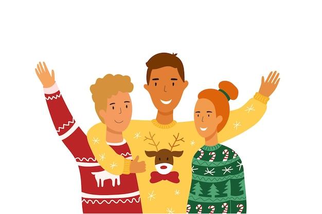 Fiesta de suéter navideño feo. los jóvenes se abrazan. ilustración vectorial.