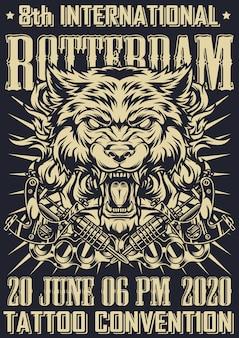 Fiesta del tatuaje en cartel monocromo de rotterdam
