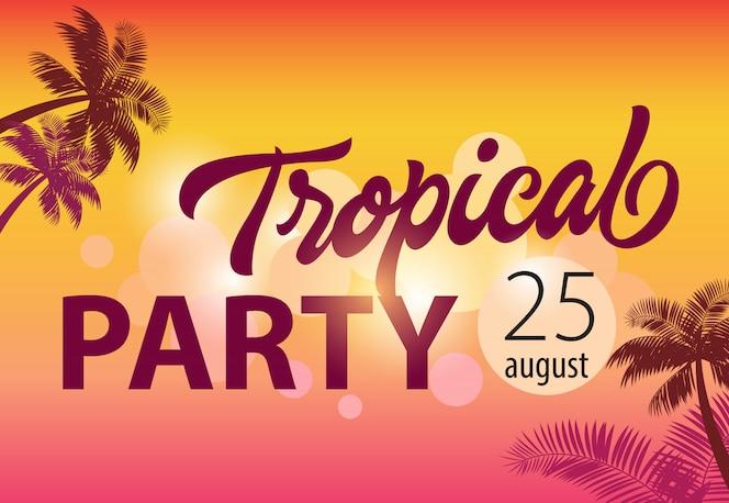 Fiesta tropical, agosto veinticinco aviador con siluetas de palma y puesta de sol en el fondo.