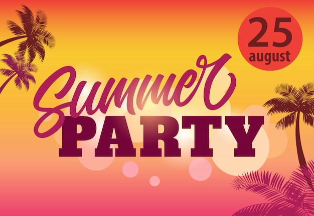 Fiesta de verano, agosto veinticinco folleto con siluetas de palma y puesta de sol