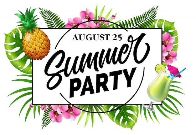 Fiesta de verano, agosto veinticinco invitación con hojas tropicales, flores, piña
