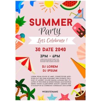 Fiesta de verano cartel celebración elemento plano frontera ilustración