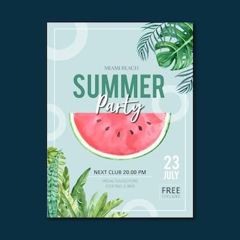 Fiesta de verano del cartel de la fiesta en la naturaleza de la sol del mar de la playa.