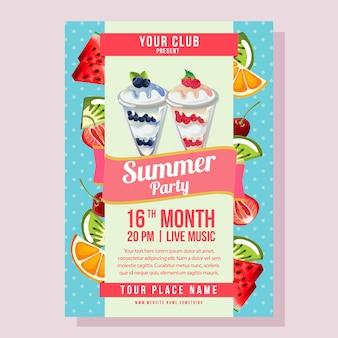 Fiesta de verano con cartel con fondo de polkadot, ilustración de playa de frutas